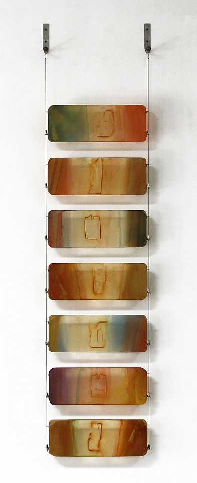 Carrie McGee, Desert Oxidized metal, acrylic & metal leaf on acrylic panels