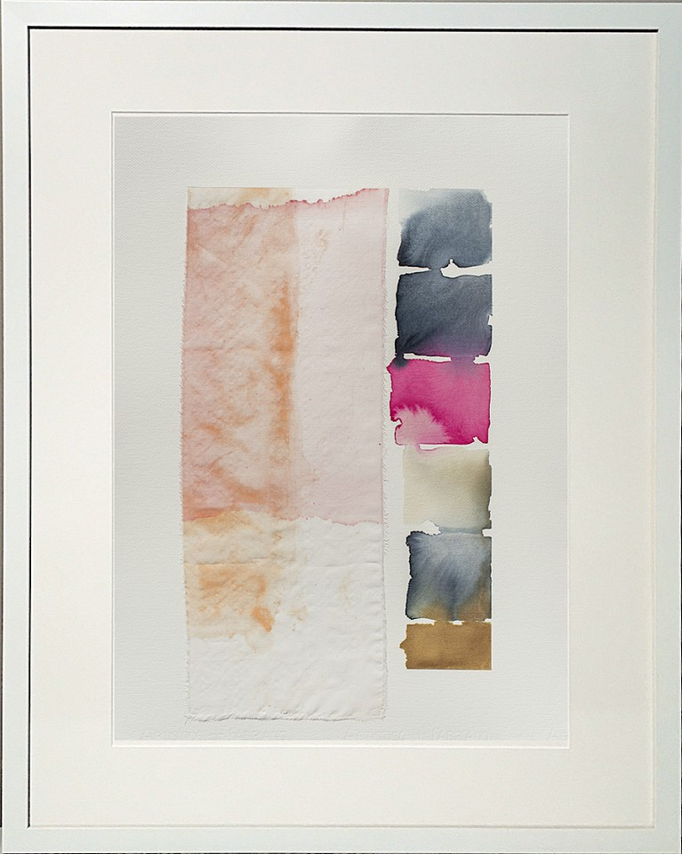 Carrie McGee, Pink Veil (Sold) Watercolor on silk and paper, framed