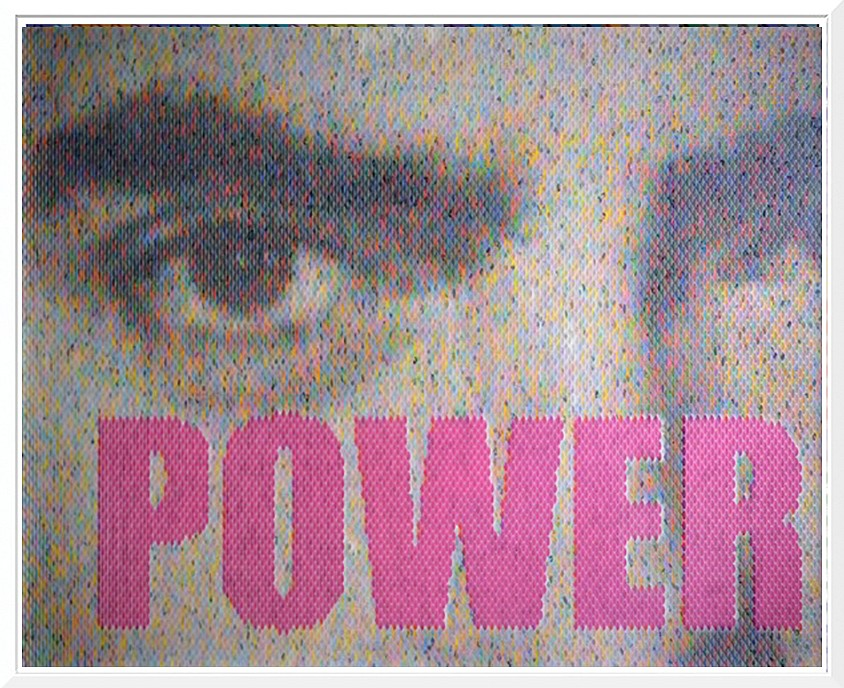 Peter Combe, Power (Tyrone Power) Hand-punched paint chips on archival board