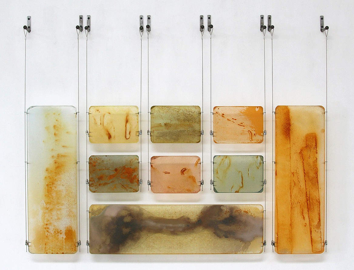 Carrie McGee, Thin Ice Oxidized metal, acrylic & metal leaf on acrylic panels