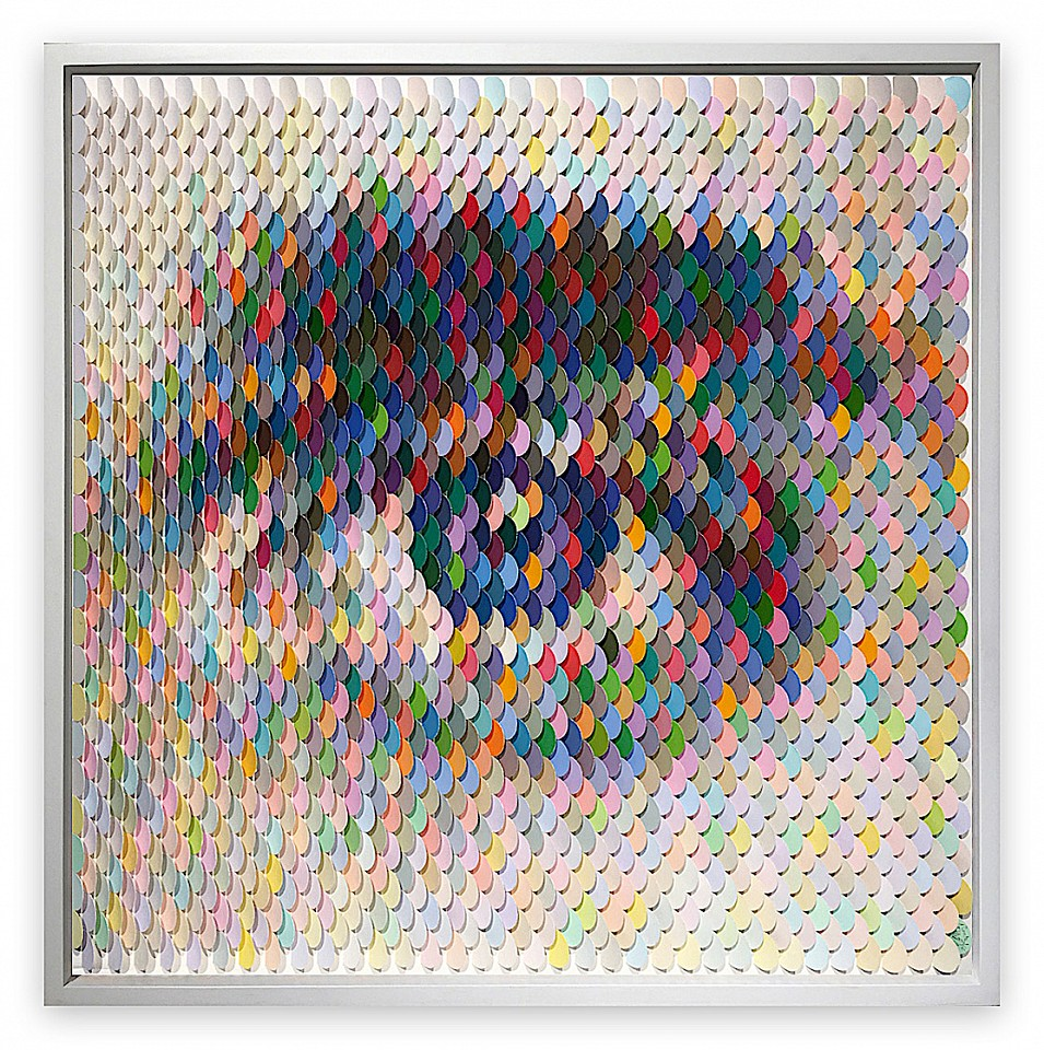 Peter Combe, Rumble Eye II Hand-punched paint chips on archival board