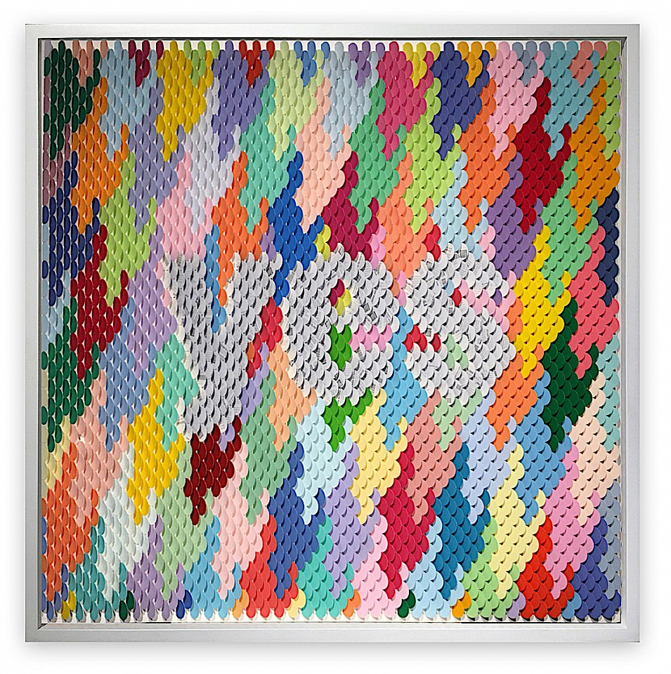 Peter Combe, Navy Yes (Sold) Hand-punched paint chips on archival board