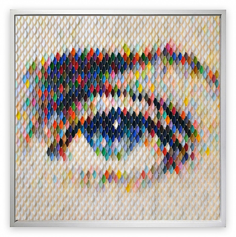Peter Combe ,   Dietrich Blue      Hand-punched paint chips on archival board ,  19 x 19 in.