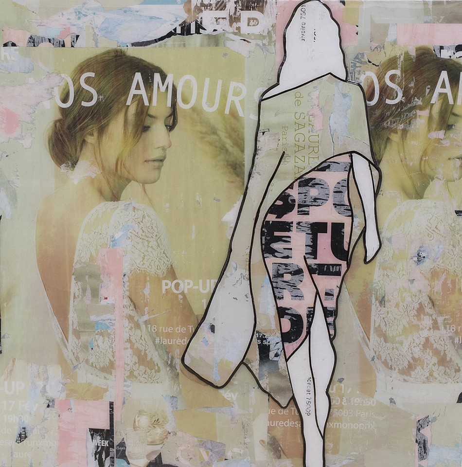 Jane Maxwell, Amour (Sold) Collage, wax & resin on panel
