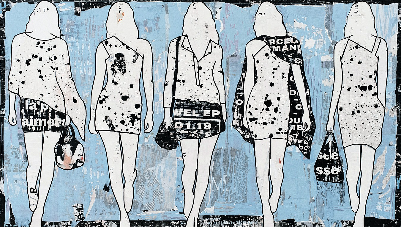 Jane Maxwell, 5 Walking Girls Blue Collage, wax & resin on panel
