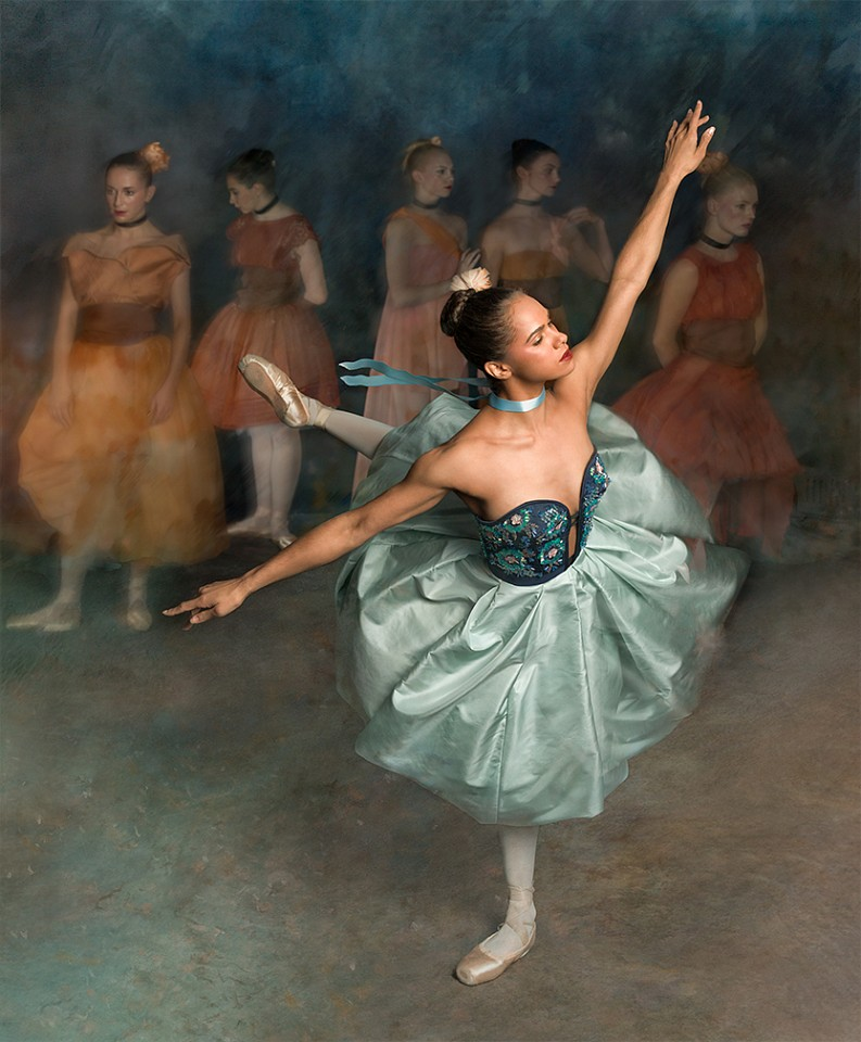 "Ken Browar & Deborah Ory, Misty Copeland (After Degas, ""Green Dancer"") Dye sublimation print on aluminum"