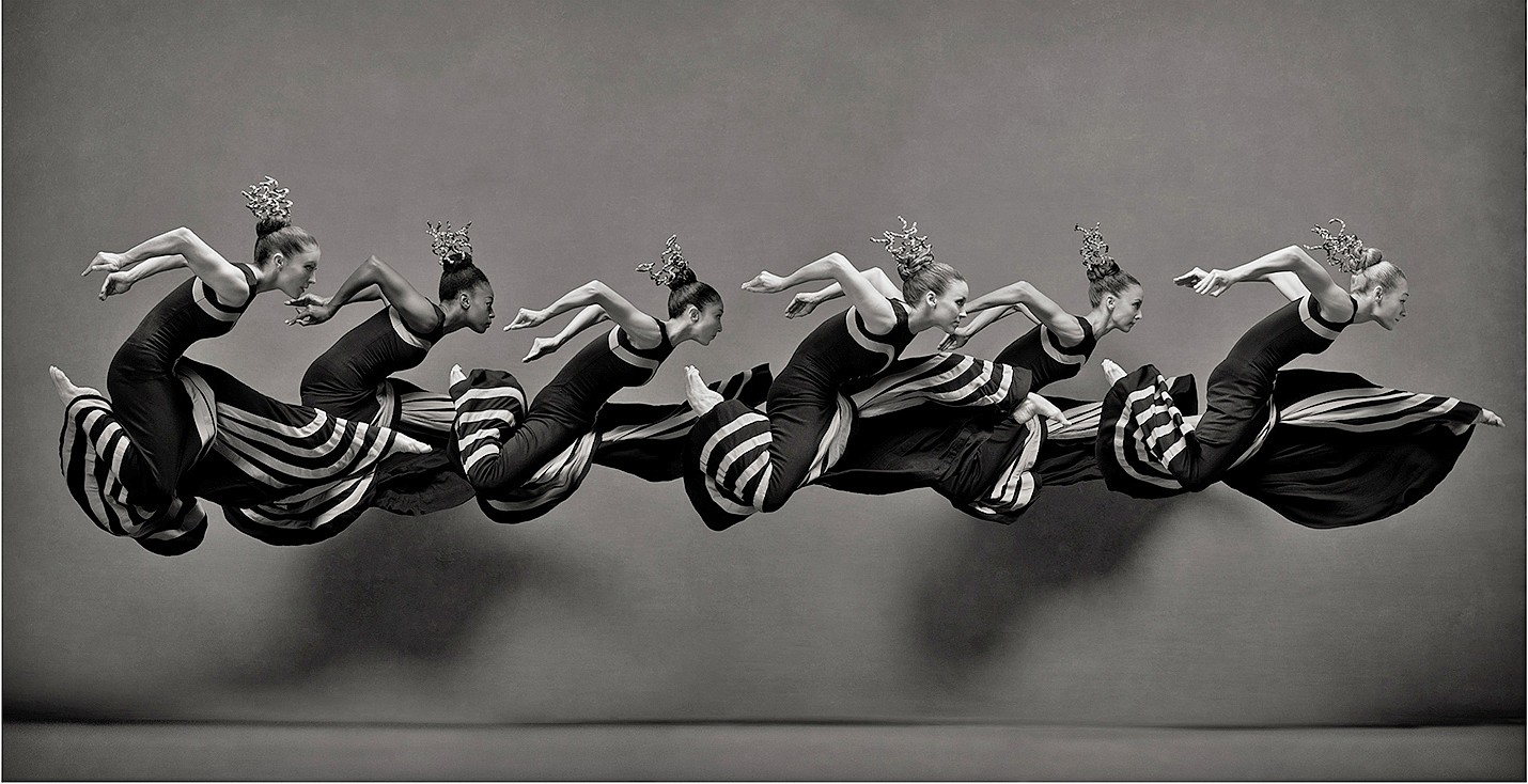 Ken Browar & Deborah Ory ,   Dancers from the Martha Graham Dance Company      Dye sublimation print on aluminum ,  46 x 90 in.     Laurel Dalley Smith, Leslie Williams, So Young An, Anne O'Donnell, Anne Souder and Charlotte Landreau.
