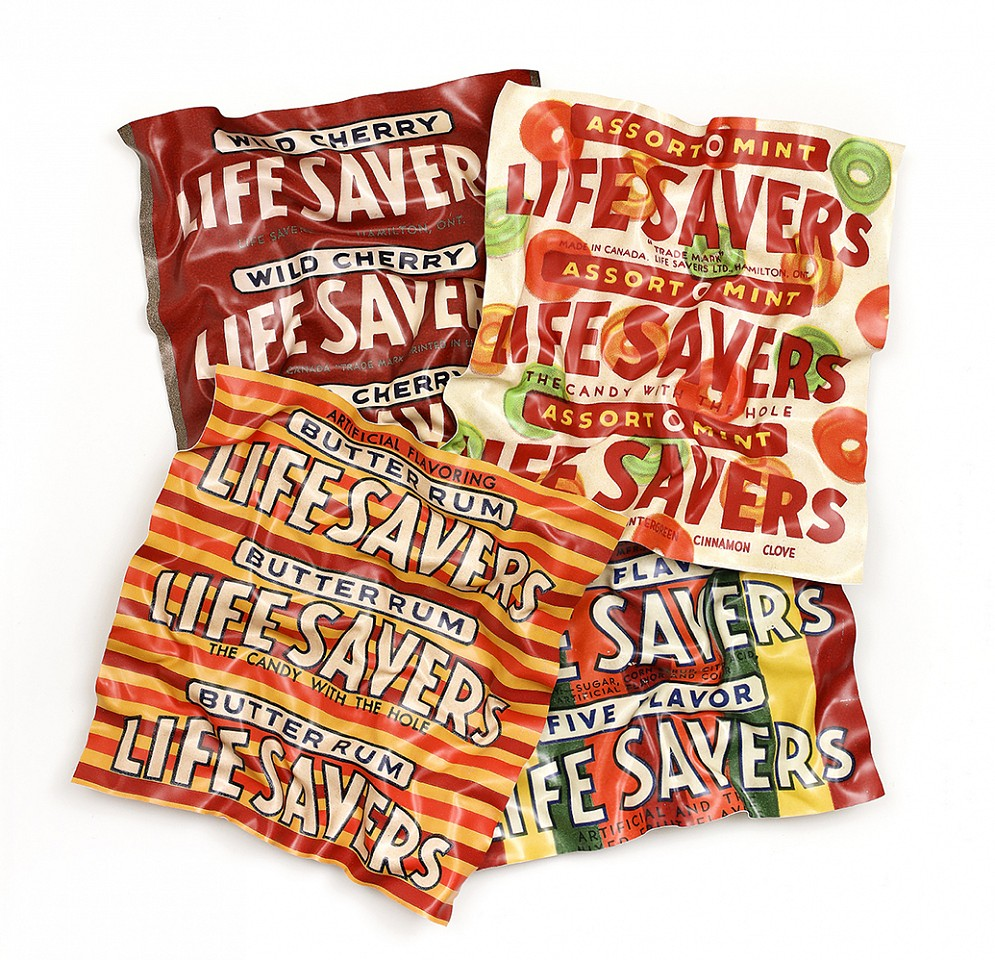 Paul Rousso, Four Flavors of Life Savers with Orange Mixed media on hand-sculpted polystyrene