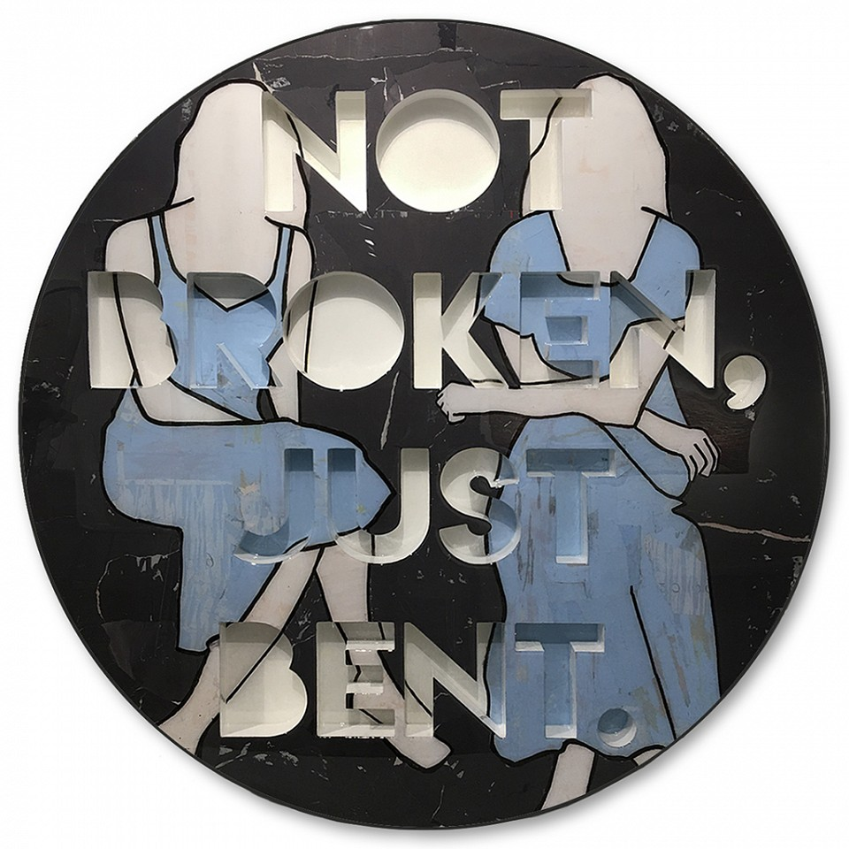 Jane Maxwell, Not Broken, Just Bent (Sold) Collage, wax and resin on panel