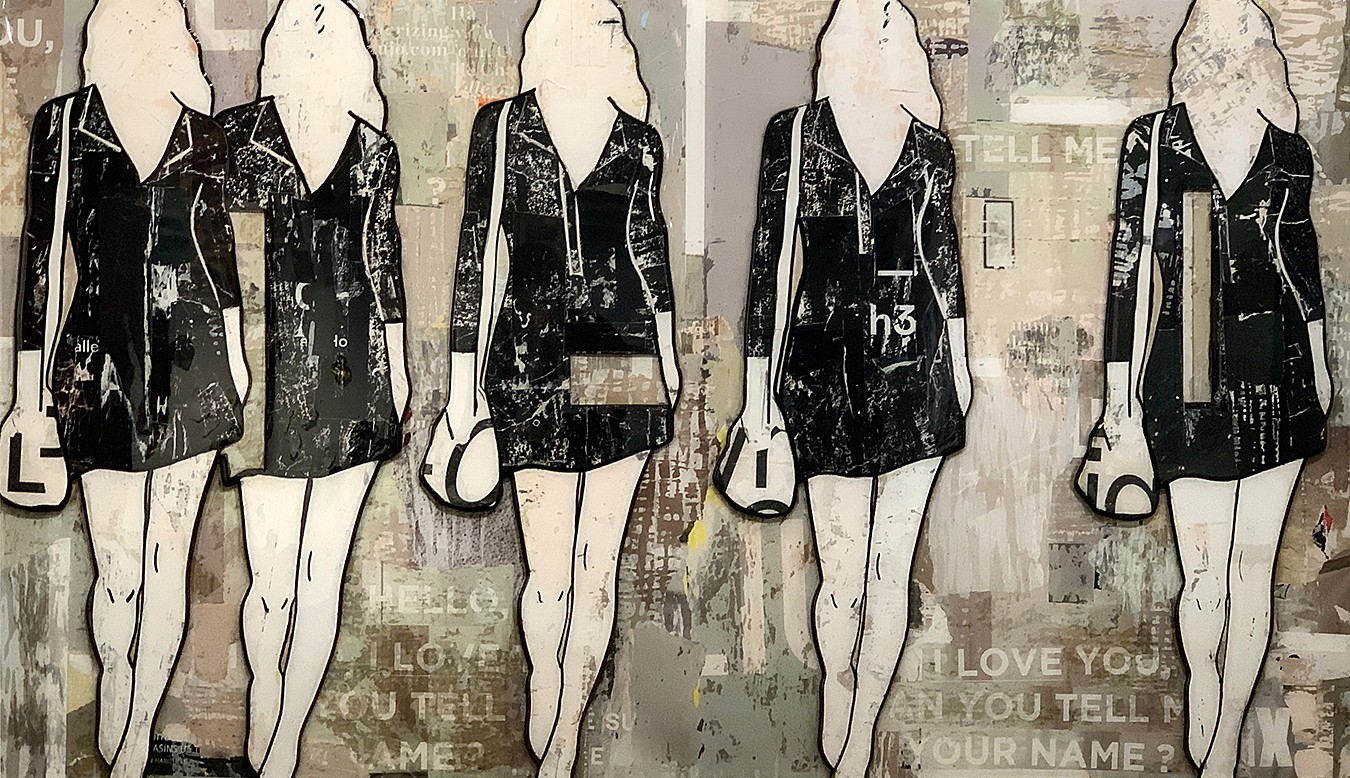 Jane Maxwell ,   Taupe Girls (Sold)      Collage, wax and resin on panel ,  36 x 60 in.