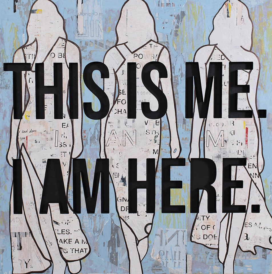 Jane Maxwell, This Is Me, I Am Here (Sold) Collage, wax and resin on panel