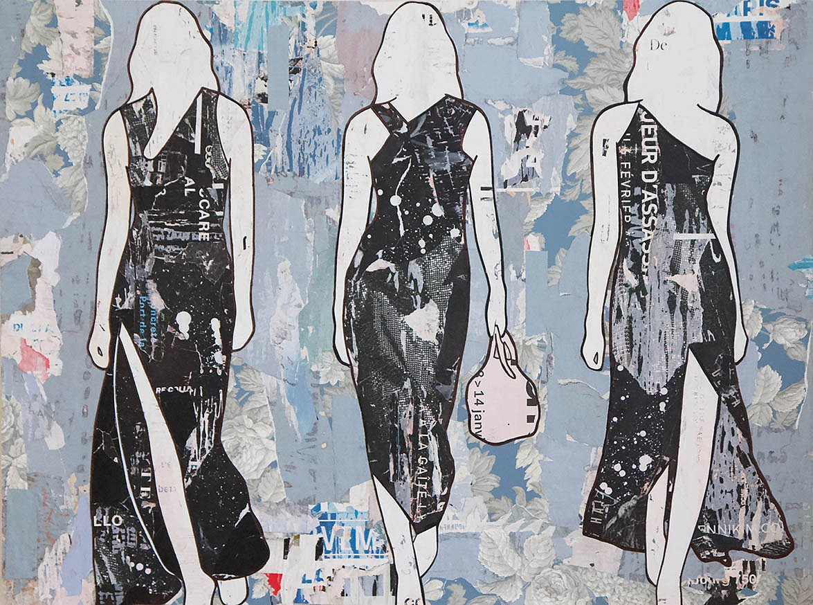 Jane Maxwell ,   Three Black Dresses 2020      Collage, wax & resin on panel ,  36 x 48 in.